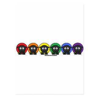 Yarnoholics anonyme flaumige Regenbogen-Schafe Postkarte