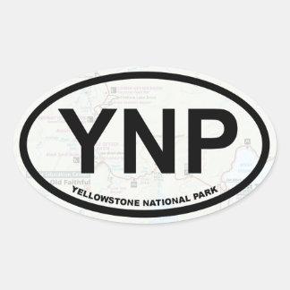 Yellowstone-Kartenaufkleber (schwarzer Text) Ovaler Aufkleber