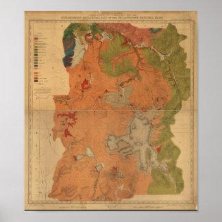 Yellowstone Nationalpark 1878 geologische Poster