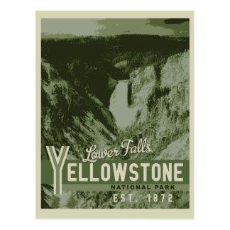 Yellowstone Nationalpark untere Fall-Postkarte Postkarte