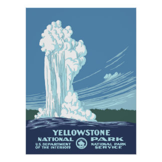 Yellowstone Nationalpark Vintages Plakat