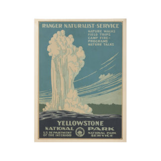 Yellowstone Nationalpark Vintages Plakat Wyoming Holzposter