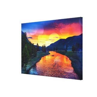 Yellowstone River Reflexions-Sonnenuntergang Leinwanddruck