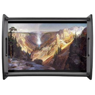 Yellowstone-Wasserfall-Fluss-GebirgsServiertablett Serviertablett