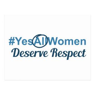 #YesAllWomen verdienen Respekt Postkarte