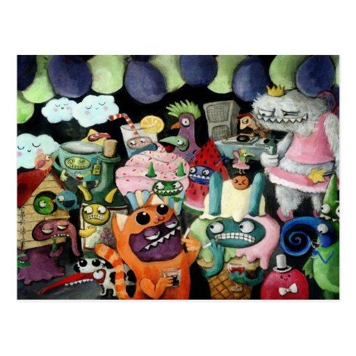 Yeti und Monster-Party! Postkarte