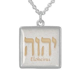 YHVH Eloheinu Neuhebräisch Halskette Mit Quadratischem Anhänger
