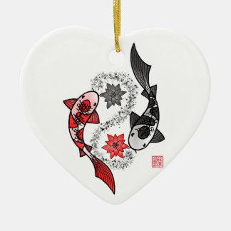 Yin und Fisch-Keramik-Verzierung Yang Koi Keramik Ornament
