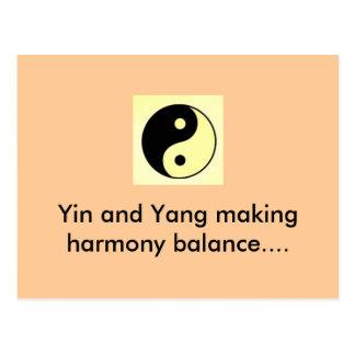 Yin und Yang, die Harmonie machen, balancieren… Postkarte