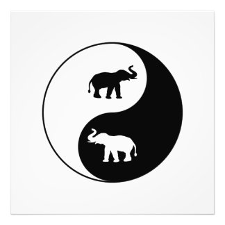 Yin und Yang-Elefanten Fotodruck