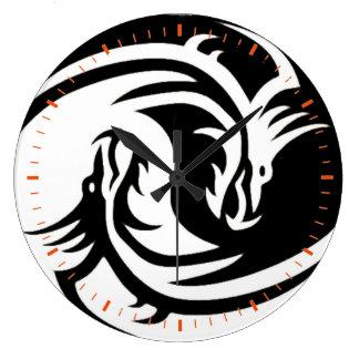 Yin und Yang Große Wanduhr