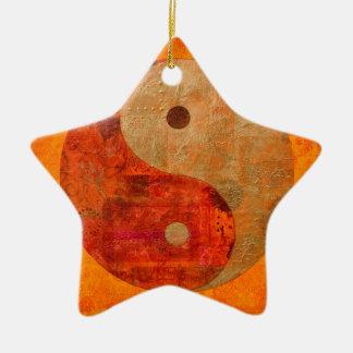 Yin und Yang Keramik Stern-Ornament