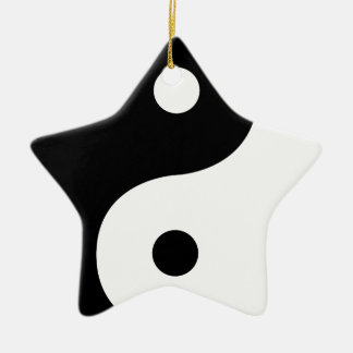 Yin und Yang-Seiten Keramik Stern-Ornament