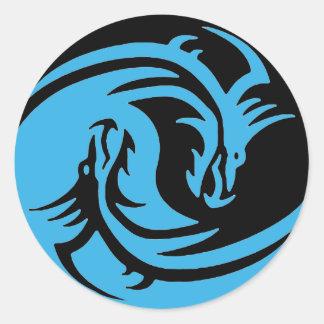 Yin und Yang-Set Drachen Stammes- Schwarzes und Runder Aufkleber