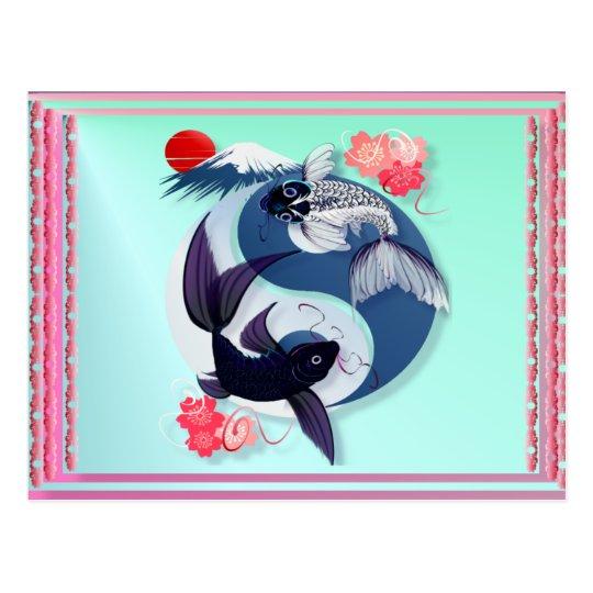 Yin und yangs koi postkarten zazzle for Koi und goldfische zusammen