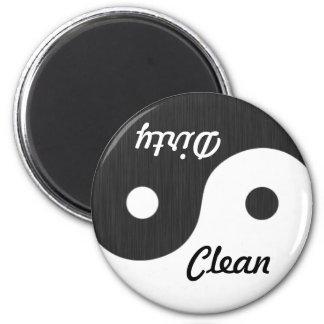 Yin und Yangs sauberer/schmutziger Runder Magnet 5,1 Cm