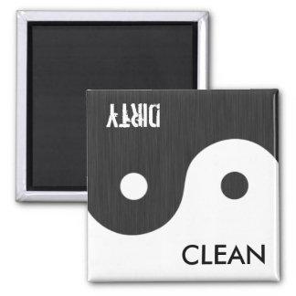 Yin und Yangs sauberer/schmutziger Teller Wsher Ma Quadratischer Magnet