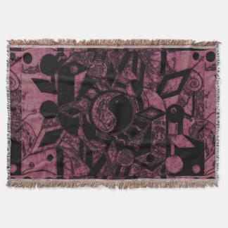 Yin und Yangs schwarze und rosa Wurfs-Decke des Decke
