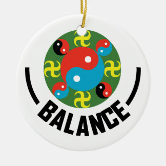 Yin Yang Balance Rundes Keramik Ornament