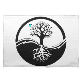 Yin Yang Baum des Leben-Schwarzen u. des Weiß Tischset