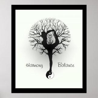 Yin Yang, Baum des Lebens, Frauen, Yoga Poster