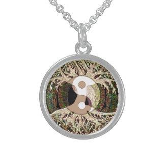 Yin Yang Baum des Lebens TAN Sterlingsilber Halskette