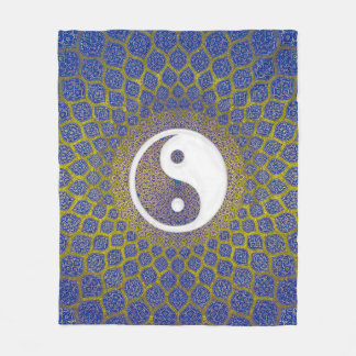 Yin Yang Blau Fleecedecke