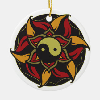 Yin Yang blühendes Lotus Keramik Ornament