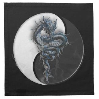 Yin Yang chinesische Drache-Serviette Stoff Serviette