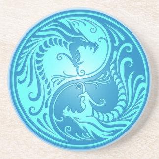 Yin Yang Drachen, hellblau Getränke Untersetzer