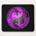 Yin Yang Drachen, lila und schwarz Mousepads