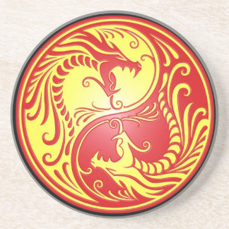 Yin Yang Drachen, Rot und Gelb Sandstein Untersetzer