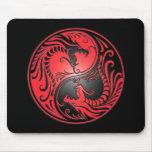 Yin Yang Drachen, Rot und Schwarzes Mousepad