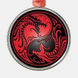 Yin Yang Drachen, Rot und Schwarzes Weinachtsornamente