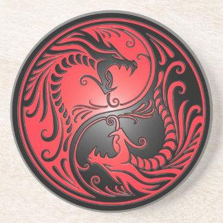 Yin Yang Drachen, Rot und Schwarzes Sandstein Untersetzer