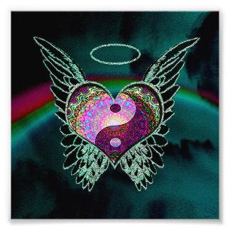 Yin Yang, Engels-Flügel, Herz und Raum Fotodruck