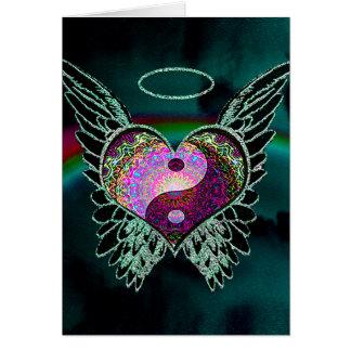 Yin Yang, Engels-Flügel und Herz Grußkarte