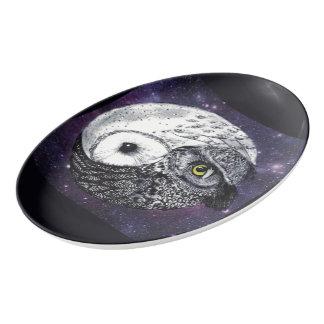Yin Yang Eulen Porzellan Servierplatte