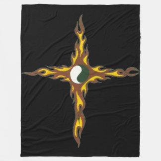 Yin Yang Feuer-Kreuz Fleecedecke