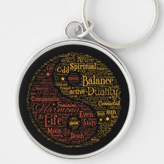 Yin Yang geistige Wort-Kunst Schlüsselanhänger
