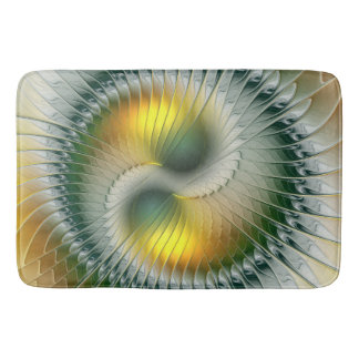Yin Yang grünes gelbes abstraktes buntes Fraktal Badematte