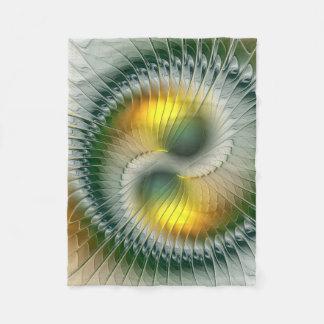 Yin Yang grünes gelbes abstraktes buntes Fraktal Fleecedecke