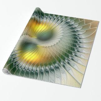 Yin Yang grünes gelbes abstraktes buntes Fraktal Geschenkpapier