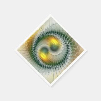 Yin Yang grünes gelbes abstraktes buntes Fraktal Papierserviette