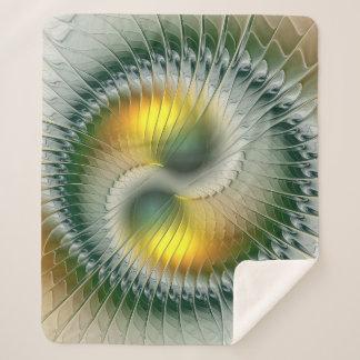 Yin Yang grünes gelbes abstraktes buntes Fraktal Sherpadecke