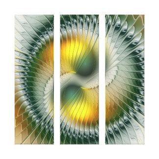 Yin Yang grünes gelbes abstraktes Leinwanddruck