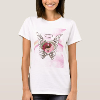 Yin Yang Herz-Engel Wings Aquarell T-Shirt
