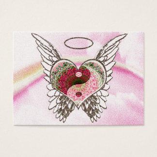 Yin Yang Herz-Engel Wings Aquarell Visitenkarte