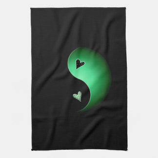 yin Yang-Herz - Grün Küchentuch