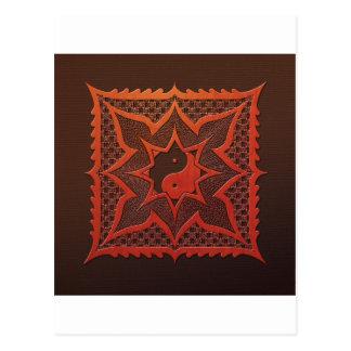 Yin Yang Holzschnitt-Mandala Postkarte